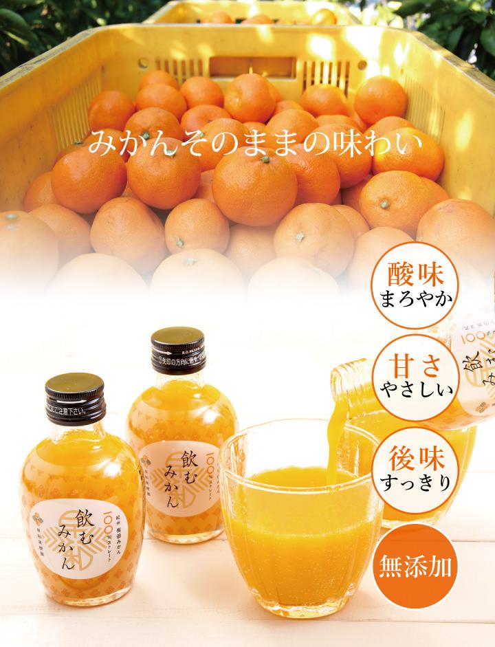 和歌山有田みかん使用、みかんジュース(100%ストレート)飲むみかん